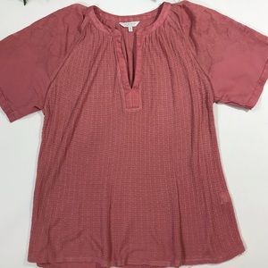 Lucky Brand Rose Pink Tee appliqué Sleeves Thermal
